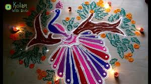 Peacock Decorations by Diwali Peacock Rangoli Design Decorations With Colours Easy
