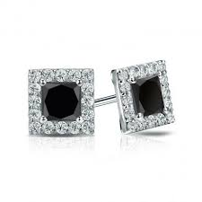 black diamond studs certified 18k white gold halo princess cut black diamond stud