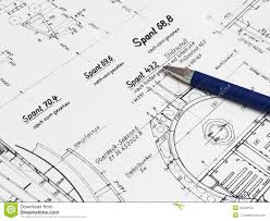 blue pen on a technical drawing stock photo image 43423102