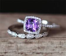 amethyst engagement ring sets amethyst engagement and wedding ring sets ebay