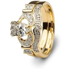 wedding gold rings claddagh engagement wedding ring set sl 14l68dd set