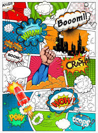 comic book page divided by lines with speech bubbles rocket