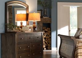 Solid Pine Bedroom Furniture 7 Drawer Dresser And Mirror With Solid Spruce Pine Wood In Bark Finish