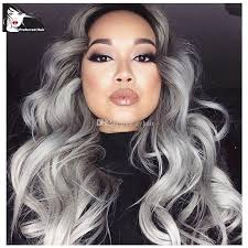 gray hair pieces for american grey synthetic lace front wig glueless ombre black to grey african