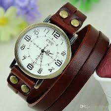 bracelet leather watches images Cool man women leather bracelet watch ultra long strap retro two jpg