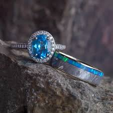 opal wedding ring gibeon meteorite wedding ring set topaz engagement ring with opal