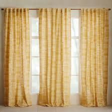 Curtains Set Mid Century Cotton Canvas Etched Grid Curtains Set Of 2