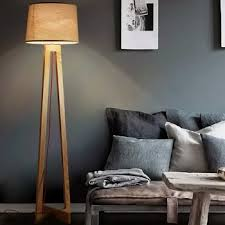 modern wood floor standing lamps fabric lampshade cord wooden
