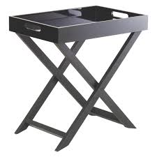 Folding Coffee Table Uk Oken Black Folding Side Table With Removable Tray Top Buy Now At