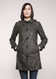 Queen Anne by Feller Waxed Cotton Outerwear Queen Anne Trench Ethnic Print