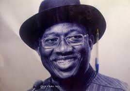 an amazing hyper realistic biro drawing of president goodluck