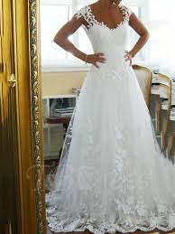 lace backless wedding dress w188 floor length a line tulle lace backless wedding dress