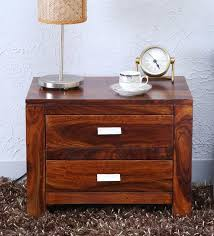 two drawer bedside table buy oriel solid wood two drawer bed side table in honey oak finish
