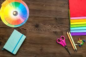 Graphic Designer Desk Professional Creative Graphic Designer Desk On Wooden Background