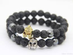 black bracelet with charm images New fashion natural black lava stone beads with spartan helmet jpg