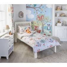 woodland duvet set single toddler cot bed curtains wall art