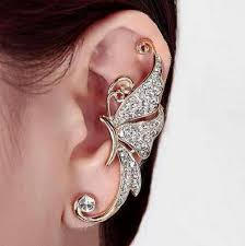 earring top of ear 2018 shuangr top quality rhinestone butterfly pink