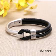 pearl fashion bracelet images Aobei pearl handmade bracelet made of genuine leather cord and jpg