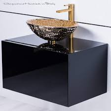 lacquer bathroom vanity with gold crystal vessel sink