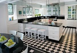 White Kitchen Cabinets With Glass Doors Kitchen Design Checker Board Marble Kitchen Floor And White
