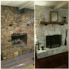 white wash rock fireplace 50 white primer 50 water brush on and dab with painted rock fireplacespainted stone