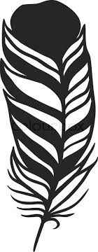 stylized feather black color and doodle tribal
