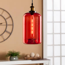 Red Light Fixture by Coraline Colored Glass Mini Pendant Lamp Red Southern