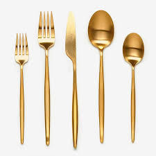 brushed gold brushed gold 5pc flatware set unison