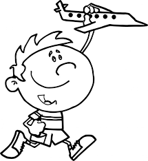 coloring pages boys cockpit little boy playing with toy airplane
