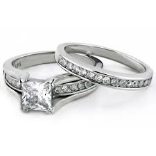 stainless steel wedding ring sets princess cut 1 carat cz stainless steel wedding ring set bellux