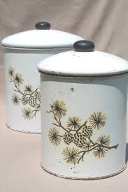 tin kitchen canisters shabby rustic pinecones pattern tins vintage tin kitchen