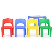 kids plastic table and chairs tot tutors playtime 5 piece primary colors kids plastic table and