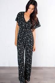gray jumpsuit black floral ruffle top jumpsuit dottie couture boutique