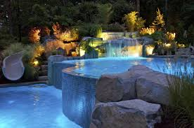 pool area ideas amazing hotel pool at night with cool lighting design decoolhome