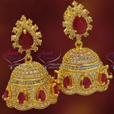 buy jhumka earrings online er5420 cz ruby screwback jhumka gold plated fancy dulhan earrings