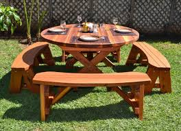 Plans For Picnic Table With Attached Benches by Round Wood Picnic Table With Wheels Forever Redwood