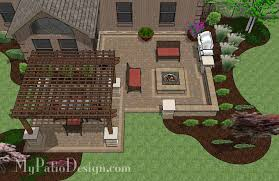 large backyard patio design with pergola built in fire pit and