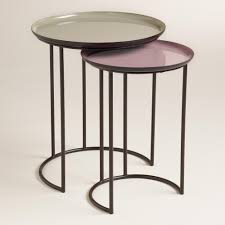 fully assembled end tables featuring glossy gray and lilac tops on a dark brown iron frame our
