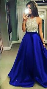 Formal Dresses With Pockets Halter Beading Sleeveless Bodice Satin Pocket Beall Gown Prom
