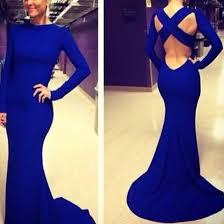 aliexpress buy new arrival hight quality white gold e1325 fashion royal blue cross back sleeve mermaid evening
