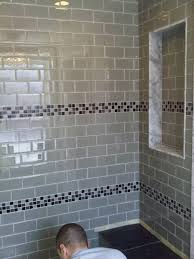 bathroom glass tile ideas gray glass tile shower room with mosaic accent built in wall