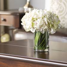White Hydrangea Centerpiece by Faux White Hydrangea Arrangement In Glass Vase U0026 Reviews Joss U0026 Main
