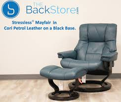 stressless mayfair cori petrol leather recliner chair and ottoman