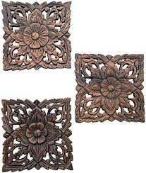 carved wood wall plaques floral wood wall hanging