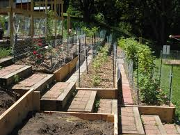 terraced garden beds steep hillside terraces with staircase to be