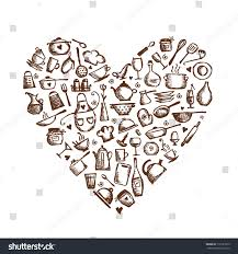 love cooking kitchen utensils sketch heart stock vector 110181953