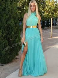 chiffon with gold belt prom dress 2014 new arrival free shipping