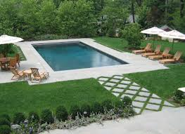 Backyard Landscaping With Pool by Rectangular Swimming Pool As Part Of Formal Nj Backyard Design