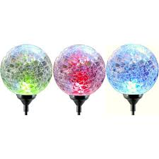 solar led stake lights moonrays color changing solar led glass ball light fixture 3 pack