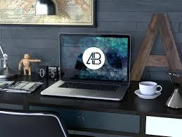 Mac Desk Top Computer Desk Realistic Retina Macbook Pro Mockup Psd Mac Desktop